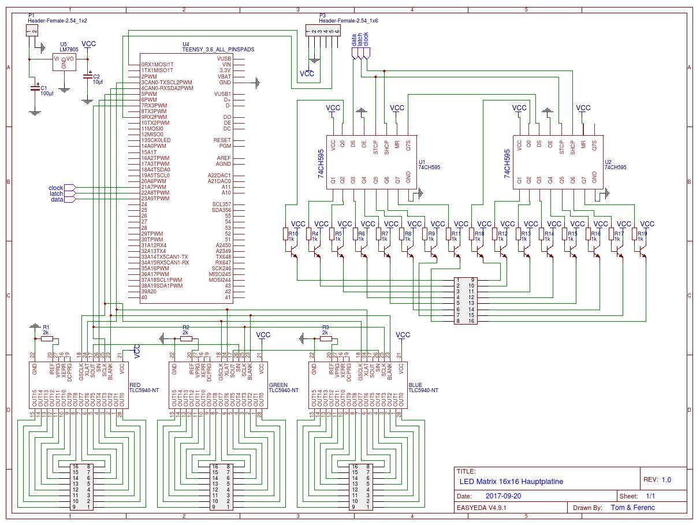 Led Matrix 16x16 Rgb Brightness Control For Multiplexed Leds Schematic